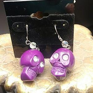 NWT Purple Skull Earrings
